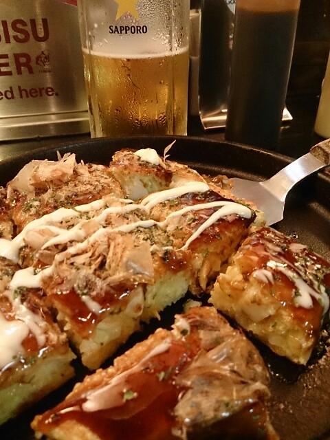 千房 イカ玉+生ビール