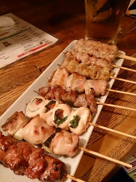 鳥里 エビス樽生ビール+串焼4種+ボテサラ